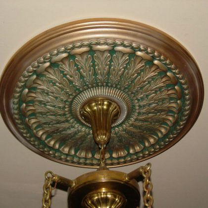 Copper Ceiling Medallion with Verdigris Glaze