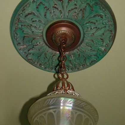 Verdigris faux finish Ceiling Medallion