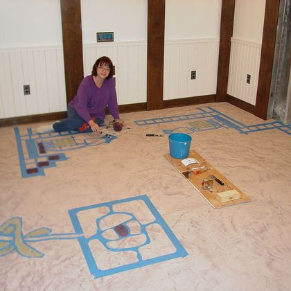 Skimstone floor with Mackintosh design