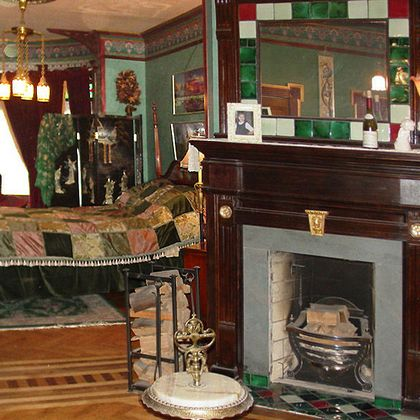 Eastlake Victorian Fireplace with Tiles