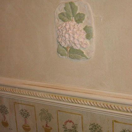 stencils on aged plaster and plaster insets