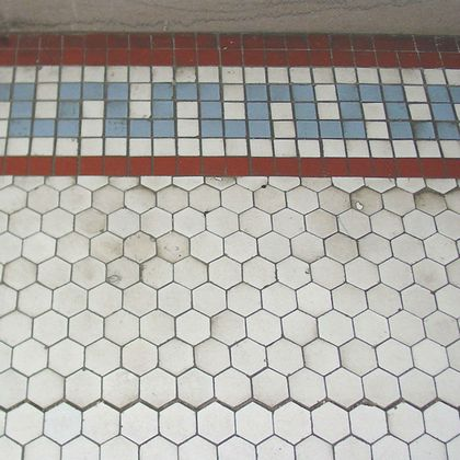 Worn encaustic tiles