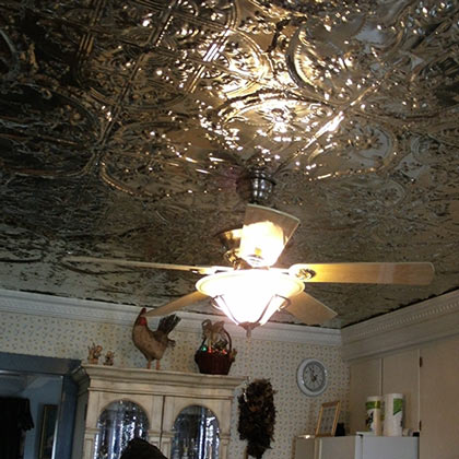 Lacquered Raw Tin Ceiling Victorian pattern
