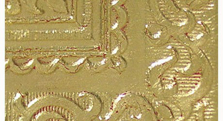 Gilded Crackled Ceiling Tiles Gold over Red Bole