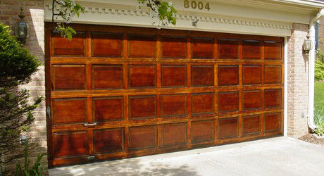 Refinished mahogany garage door