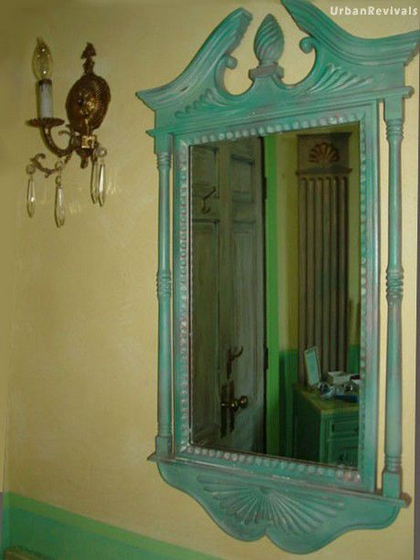 Verdigris Mirror with Color Washed Walls
